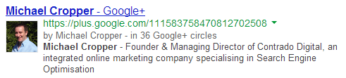 Google Authorship displaying within search results