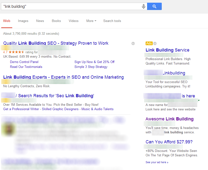Link Building Services Search Engine Results