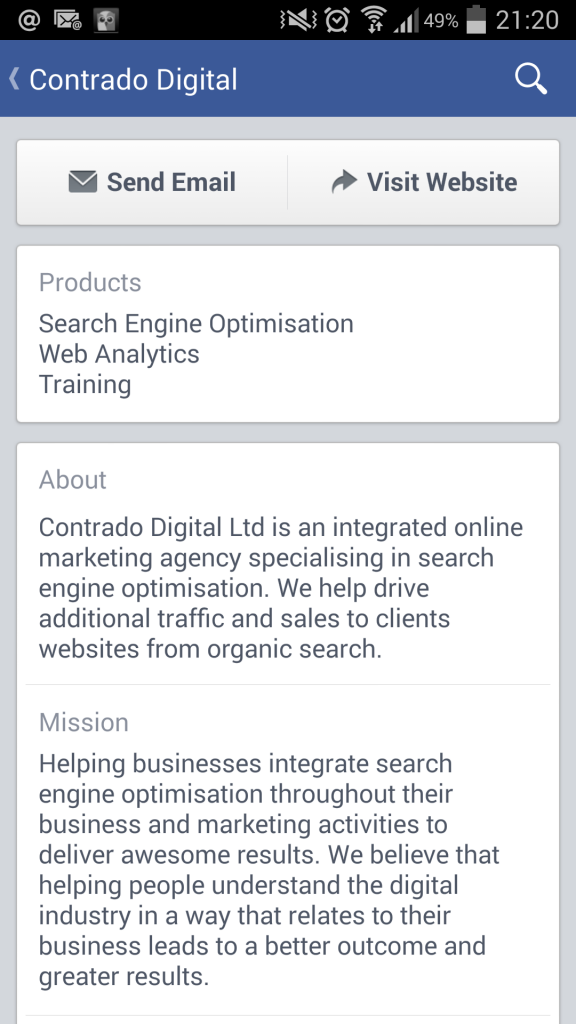 Contrado Digital Facebook page as viewed from a native mobile application on phone