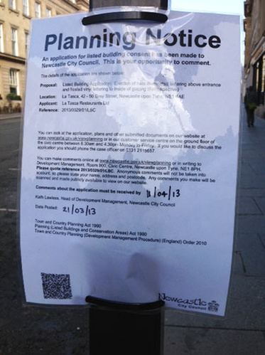 Planning Notice on Lamppost
