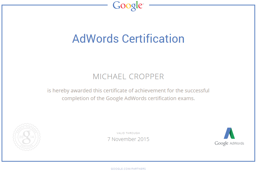 Michael Cropper AdWords Qualification Certificate November 2014