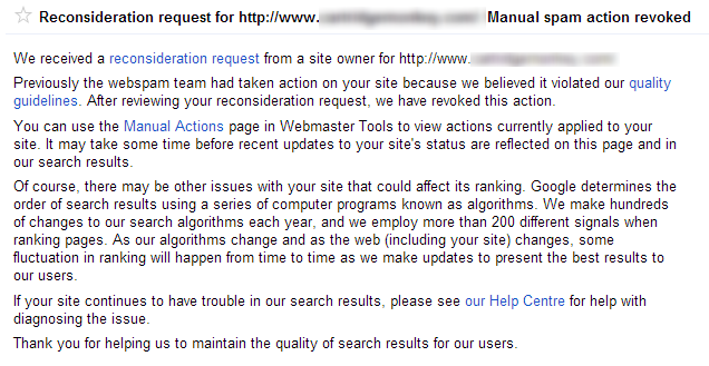 Manual link spam action revoked