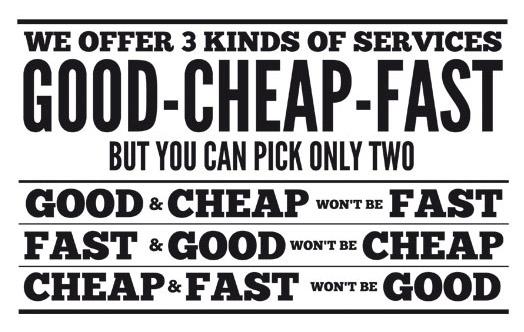 Good - Cheap - Fast Comparison