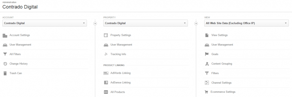 Google Analytics Administration Settings