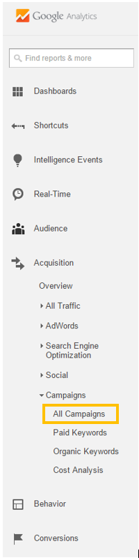 Google Analytics All Campaigns Report