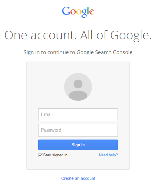 Login to Google Webmaster Tools