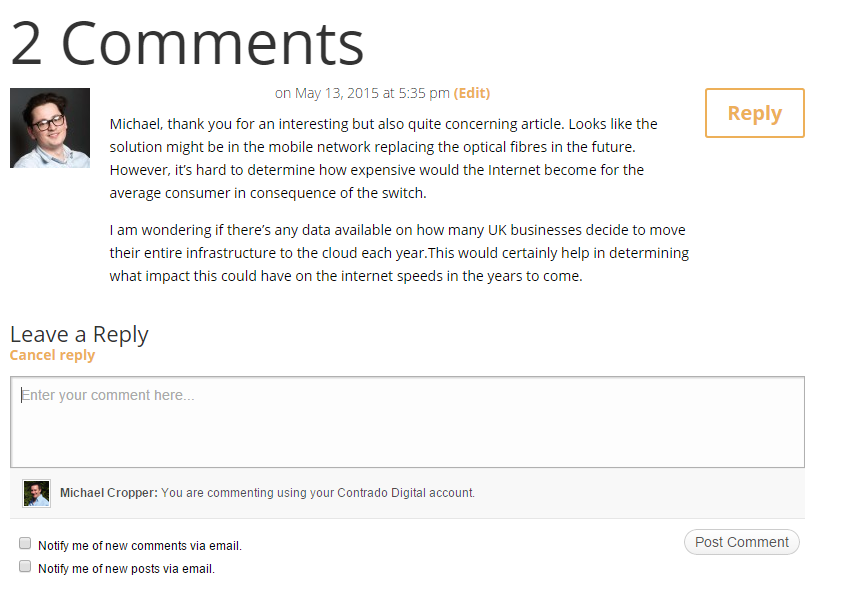 WordPress Comments on Blog Posts