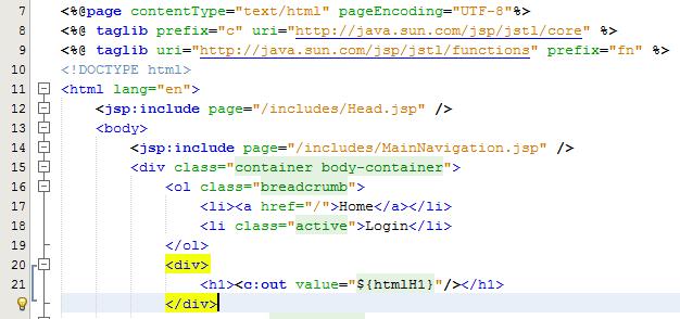 Display HTML H1 in JSP Using JSTL