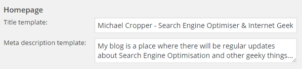 Yoast SEO Settings Homepage Meta Data