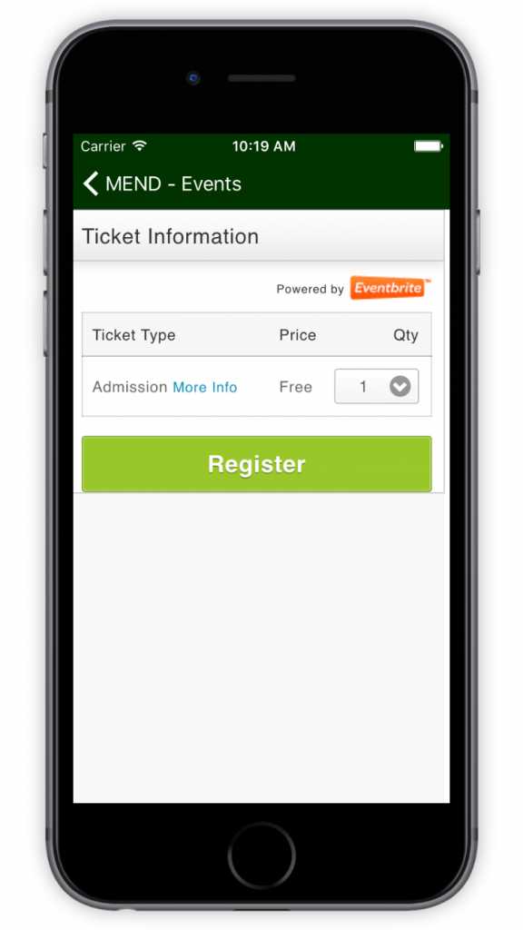 MEND Book Ticket to Event Screen