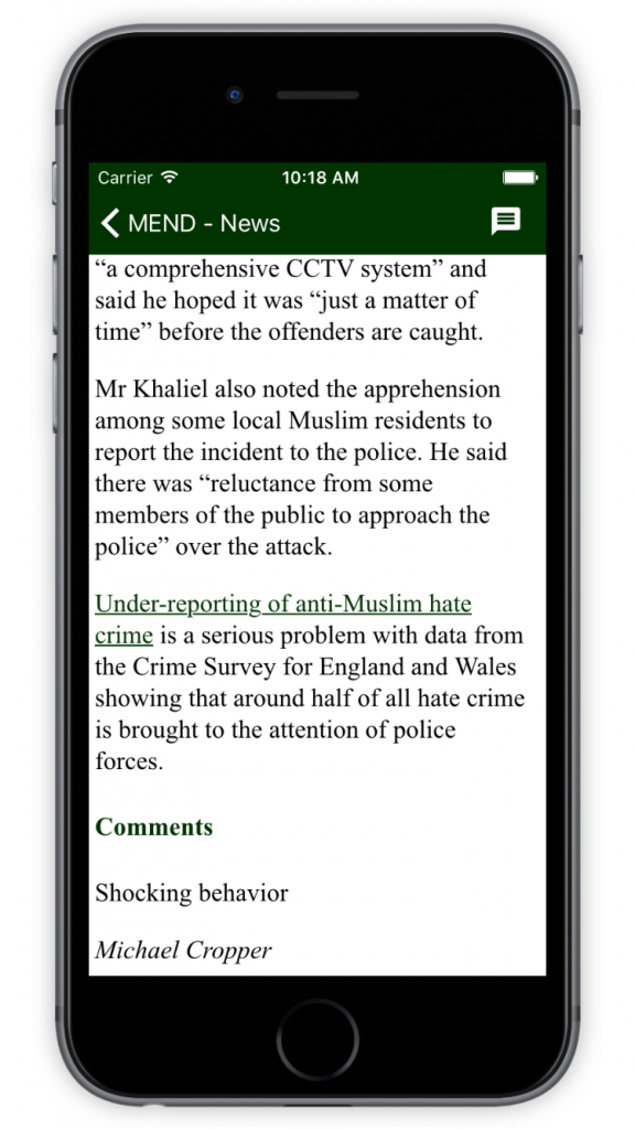MEND Comments on News Item Details