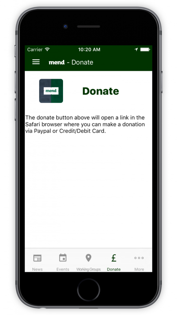 MEND Donate Screen