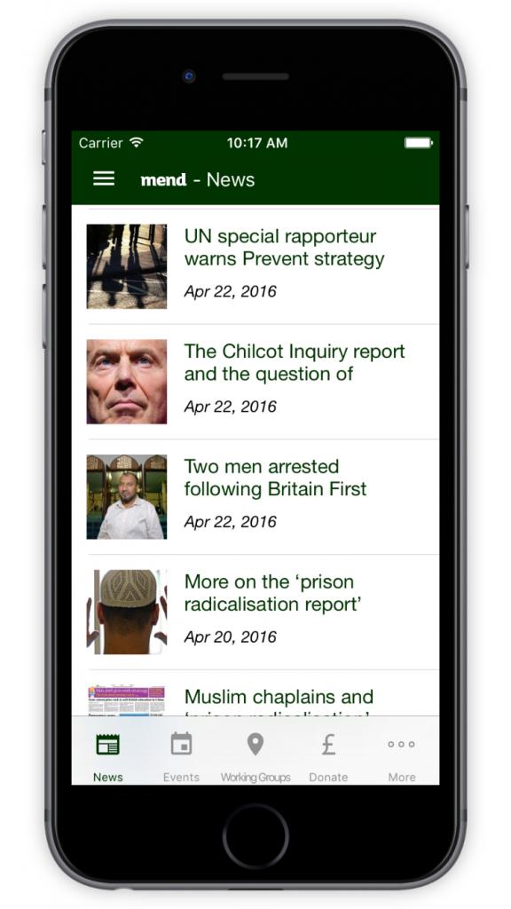 MEND News Screen