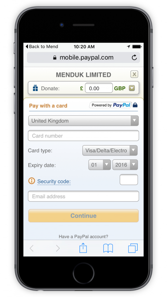MEND PayPal Pay by Card Screen