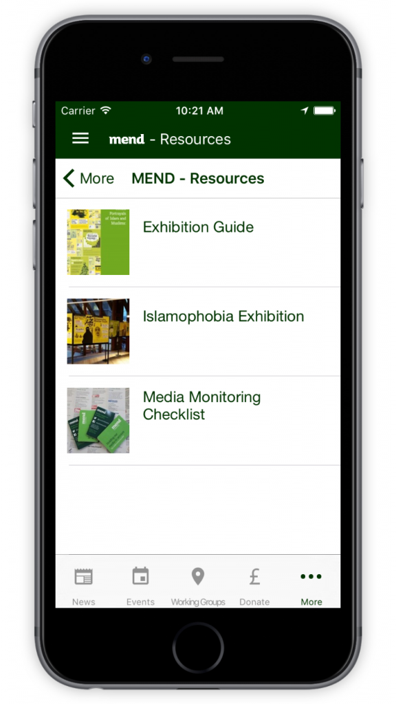 MEND Resources Screen