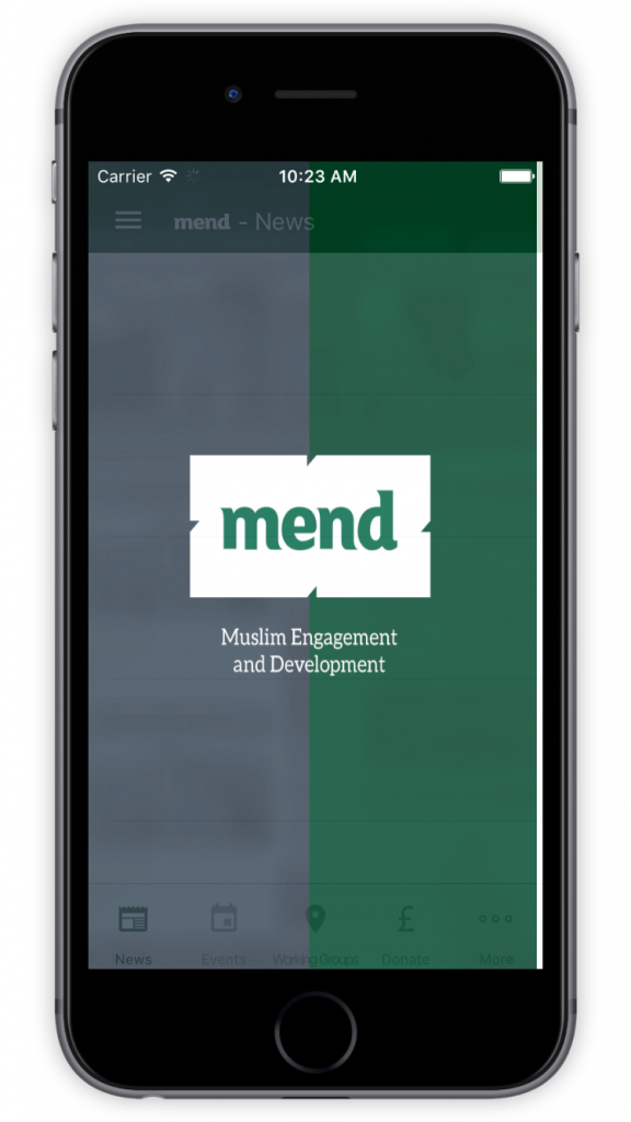 MEND Welcome Screen