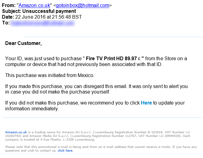 Phishing Amazon Email for Fire TV Order